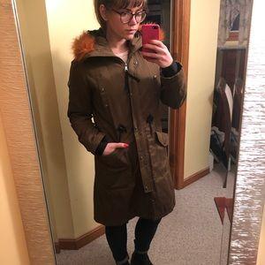 Green Winter Cost with Orange fuzzy hood